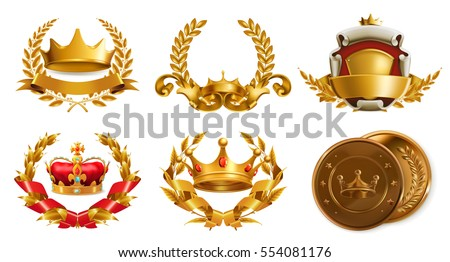 Gold crown and laurel wreath, 3d vector logo