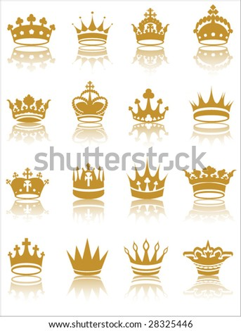 Gold crown collection vector illustration - stock vector