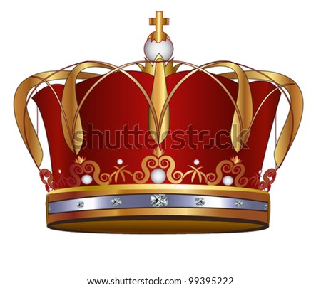 Gold Crown, Isolated On White Background - stock vector