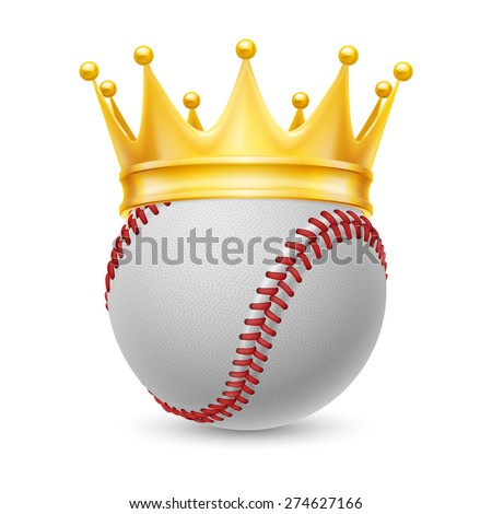 Gold crown on a baseball isolated on white - stock vector