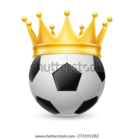 Gold crown on a soccer ball isolated on white - stock vector