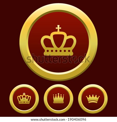 Gold Crown Red Background  - stock vector