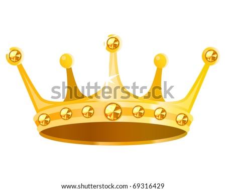 Gold crown with gems isolated on white background - stock vector