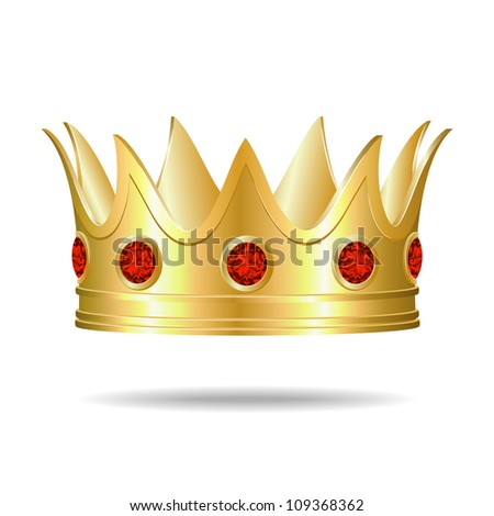 Gold crown with red gems, Vector Illustration - stock vector