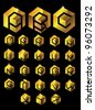 Gold Cube Alphabet EPS 8 vector, grouped for easy editing. No open shapes or paths. - stock photo