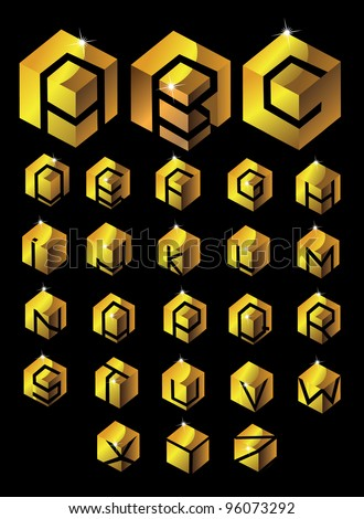 Gold Cube Alphabet EPS 8 vector, grouped for easy editing. No open shapes or paths. - stock vector