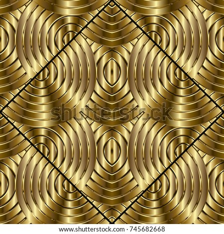 Gold 3d Geometric Seamless Pattern Modern Abstract Background Textured Wallpaper Radial