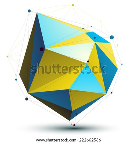 Gold 3D vector abstract technology illustration, bright perspective geometric unusual object with wireframe. - stock vector