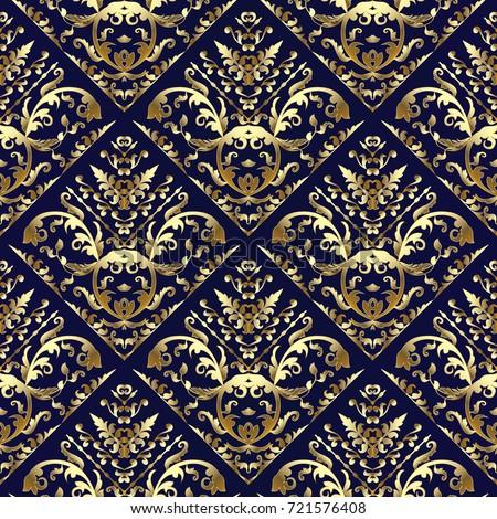 Gold Damask Seamless Pattern Floral Dark Stock Vector ...