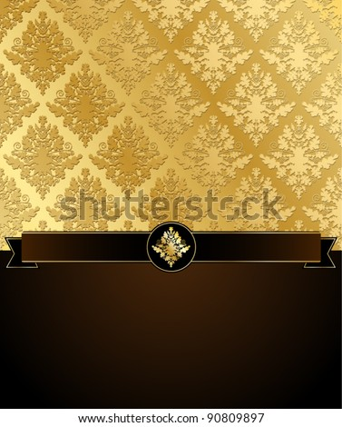 Gold Damask vector illustration with ribbon and a dark brown place for text. EPS8 file, grouped for easy editing