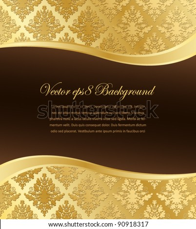 Gold Damask vector wallpaper with wave shape and a dark brown place for text. Eps8 file, grouped for easy editing