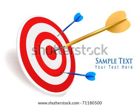 Gold dart hitting a target. Success concept. Vector illustration - stock vector