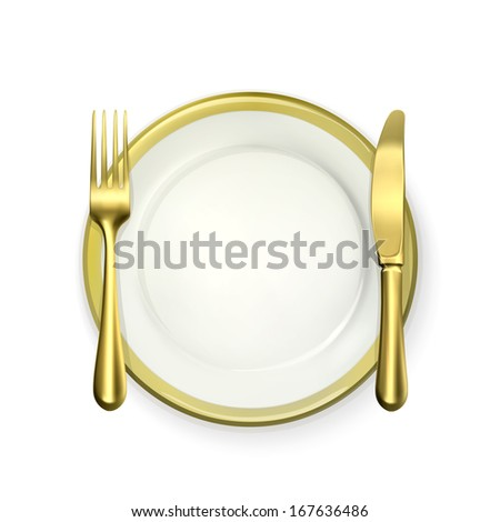 Gold dinner place setting, vector - stock vector