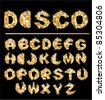 Gold disco ball letters - alphabet set - stock vector