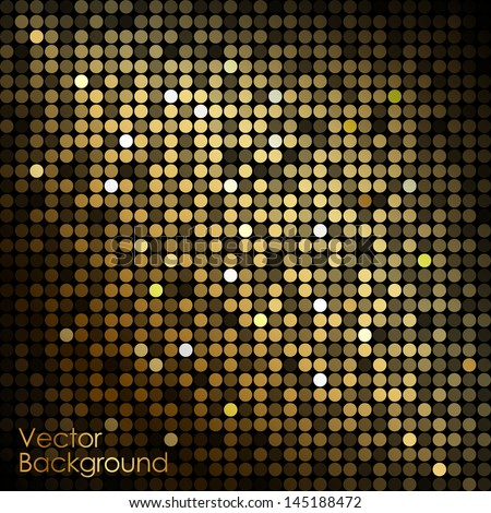 Gold disco lights - vector abstract background - stock vector