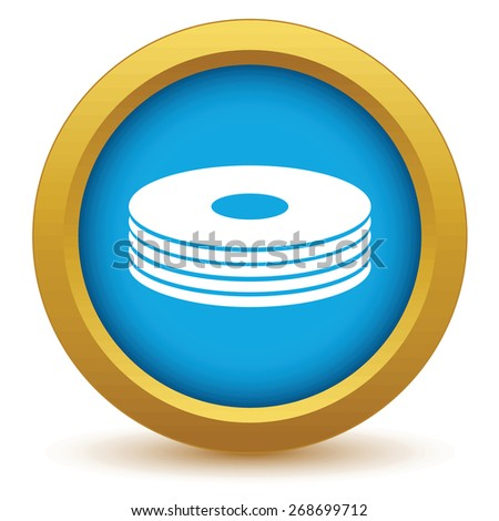 Gold disk icon on a white background. Vector illustration - stock vector