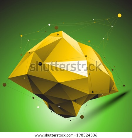 Gold distorted 3D abstract object with lines and dots placed over green background. - stock vector