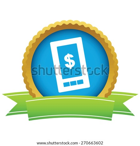 Gold dollar phone logo on a white background. Vector illustration - stock vector