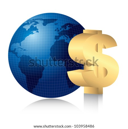 gold dollar sign over planet with shadow. vector illustration - stock vector