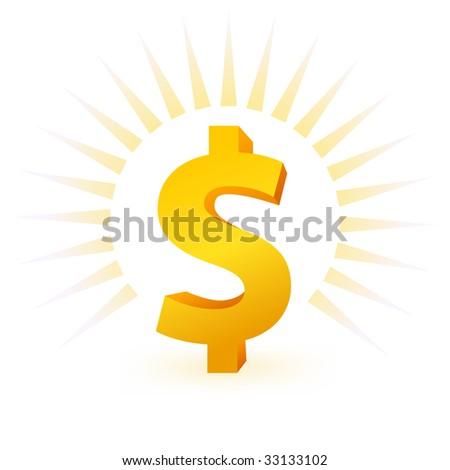 gold dollar symbol on white background - stock vector