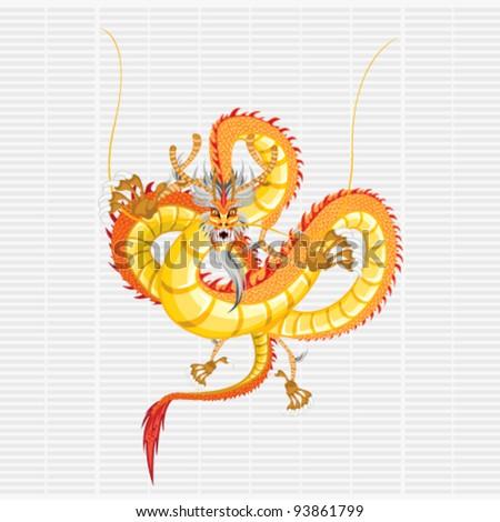 Gold Dragon - stock vector