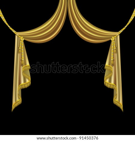 gold drapery curtains with fringes vector - stock vector