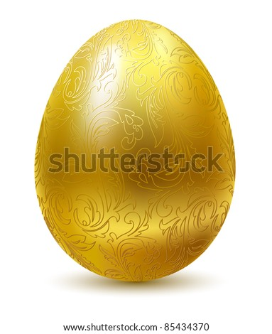 Gold egg with floral ornate isolated on white background. - stock vector