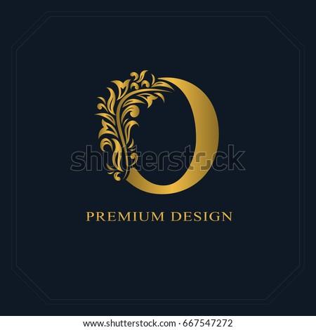 Gold Elegant Letter O Graceful Style Stock Vector 667547272