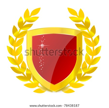 Gold emblem of colorful shield - stock vector