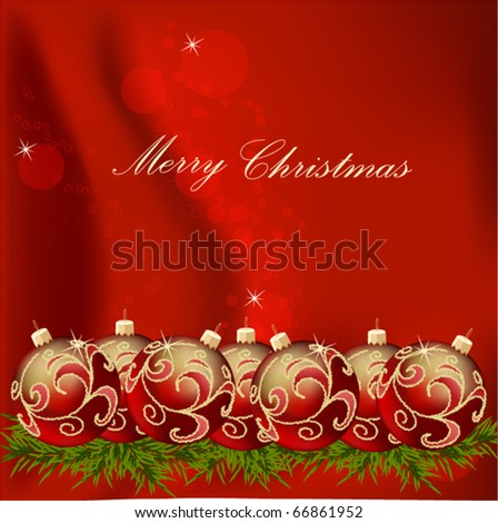 gold end red Christmas ball on new year tree, vector illustration - stock vector