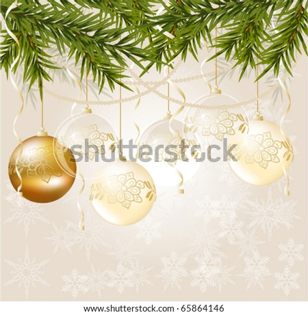 gold end white transparent Christmas ball on Christmas background, vector illustration