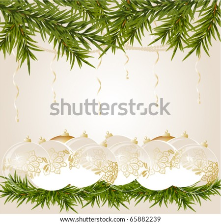 gold end white transparent Christmas ball on christmas background, vector illustration - stock vector