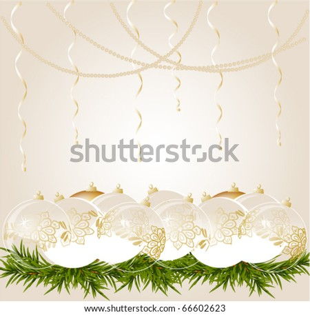 gold end withe transparent Christmas ball on christmas background, vector illustration