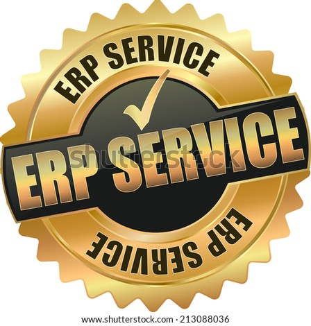 gold erp enterprise resource planing service sign - stock vector