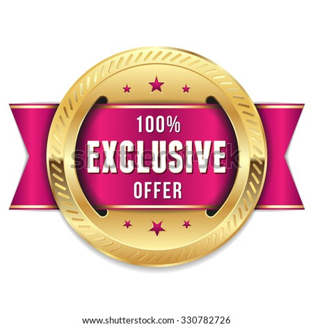 Gold exclusive offer badge with purple ribbon - stock vector