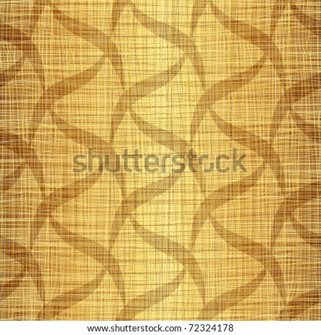 Gold fabric with drawing - stock vector