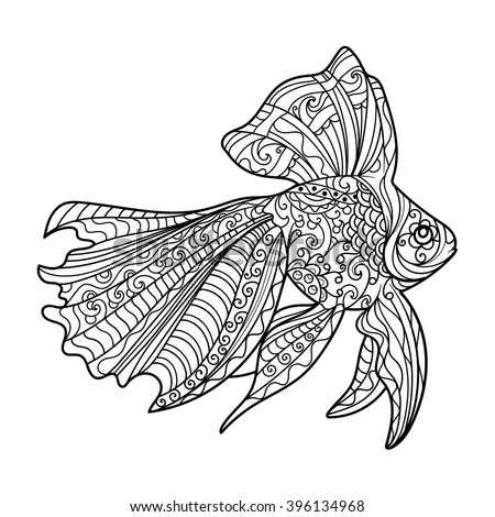 Gold Fish Coloring Book Adults Vector Stock Vector 396134968