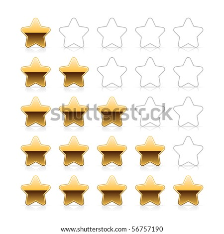 Gold five stars ratings web 2.0 button with shadow and reflection on white background - stock vector