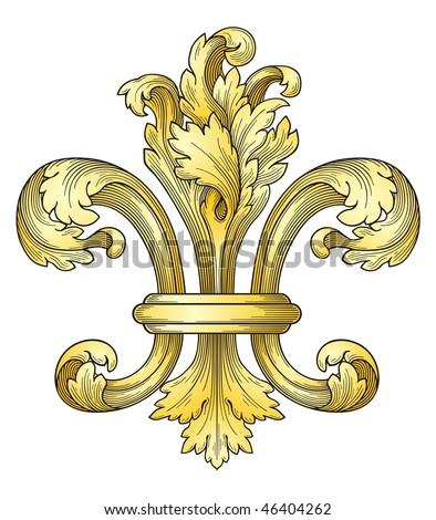 Gold fleur-de-lys vector - stock vector