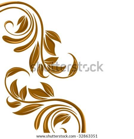 gold floral border swirl flower stock vector 32863351