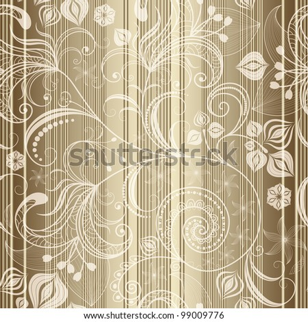 Gold floral seamless striped pattern with translucent flowers (vector EPS 10) - stock vector