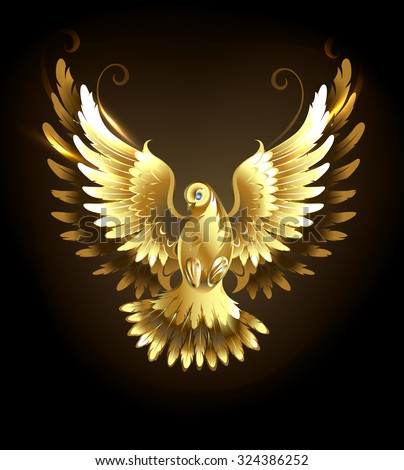 Gold flying dove on a black background. - stock vector
