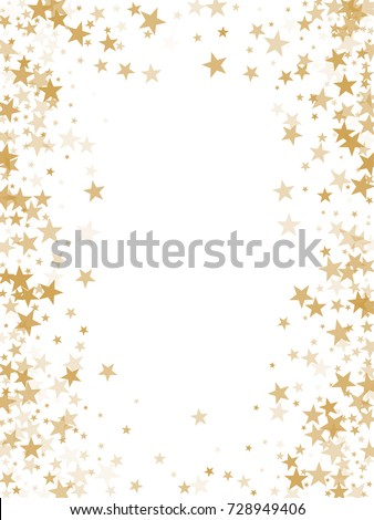 Gold flying stars confetti magic christmas frame vector, premium sparkles stardust border background. Holiday party decor, Christmas stars background vector, flying gold sparkles confetti on white.