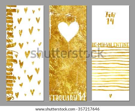 Gold Foil Valentine Banners - Valentine's vertical banners with hearts and gold foil texture on white background, abstract, whimsical, hand drawn backgrounds and elements - stock vector