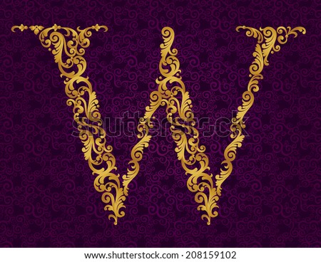 Gold font type letter W, uppercase. Vector baroque element of golden alphabet made from curls and floral motifs. Victorian ABC element in vector. - stock vector