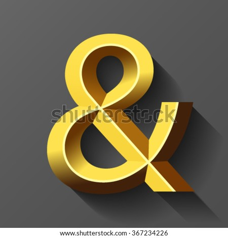 Gold font with bevel, letter & ampersand vector - stock vector