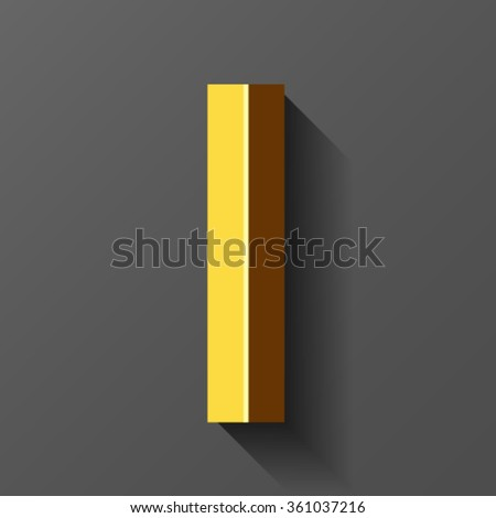 Gold font with bevel, letter I vector - stock vector