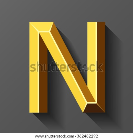 Gold font with bevel, letter N vector - stock vector