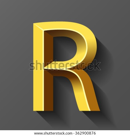 Gold font with bevel, letter R vector - stock vector