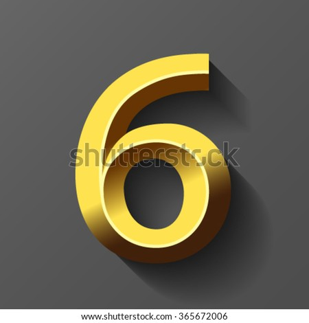 Gold font with bevel, number 6 vector - stock vector